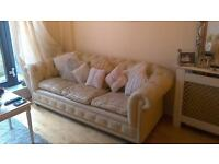 CHEsTerfield ivory leather 3 seater and chair.vgc reduced for quick sale £200 both