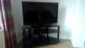3 tier black glass tv & component stand in perfect condition