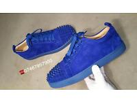 Christian Louboutin Blue Suede Low Tops Uk Size 7
