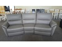ScS Teo Grey Leather 4 Seater Curved Electric Recliner Sofa