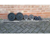 SOLID CHROME BARBELL WITH 42KG CAST IRONS WEIGHTS SET