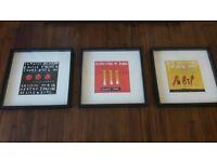 3 x Funky Art Prints - Black chunky frames