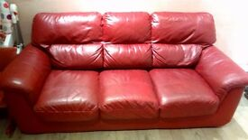 2&3 seater dark red leather sofas for sale.