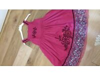 Girls burgundy party dress and matching bolero. age 4-5. good condition,