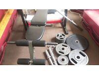Olympic weights 115 kg with bench and stand