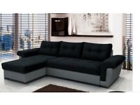 BRAND NEW CORNER SOFA BED ~BLACK AND GREY ~