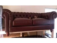 Brown leather Chesterfield sofas 2+2 & stool