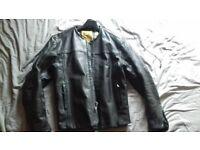 Collarless Black Leather Motorcycle Jacket