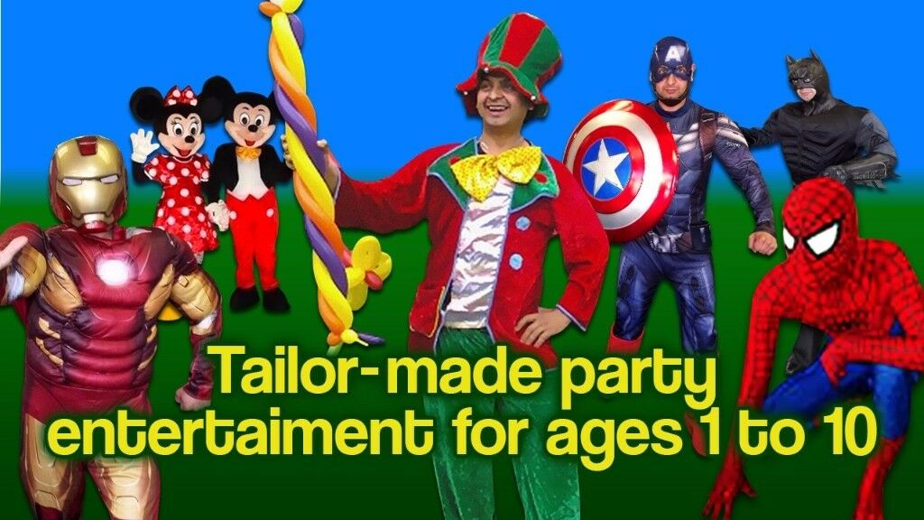 * Childrens CLOWN MASCOT Entertainer MINNIE MICKEY MOUSE SPIDERMAN BATMAN Balloon modeller kids hire