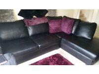 Large Black Faux Leather Corner Sofa
