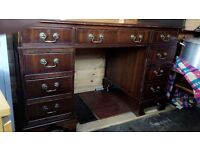 Antique Style Red Leather Top Writing Desk Mahogany