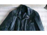 Black 100% Leather Jacket Ramones punk rock, motor biker SIZE XL