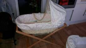 MOSES BASKET AND STAND £12