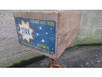 VINTAGE C1960S WOODEN TASMANIAN PEARS CRATE BOX RUSTIC KITCHEN STORAGE DECOR FAB COLOUR LABEL G/C