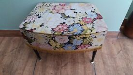 Vintage Retro Floral Sewing Box, Lift Up Lid.