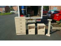 Beech wood chest of drawers and matching lockers