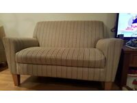 Next 2 seater sofa - green stripe fabric with matching footstool