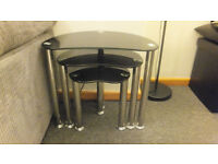 Nest of 3 Coffee Tables - Black Glass & Chrome