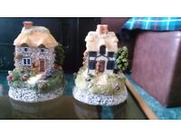 Pair of beautiful ceramic cottage/houses, hand-made