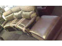 EX-DISPLAY SCS BROWN FABRIC/ENDURANCE LEATHER 3 SEATER CURVED CORNER SOFA + STOOL