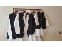 4 Asian Wedding Mens / Boys Suits Waistcoats Black with Red Velvet Embroidery