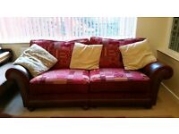 LARGE 2 SEATER FABRIC & LEATHER SOFA