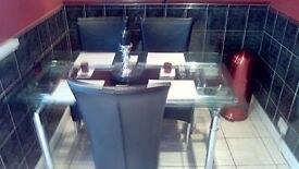 Extandable Large Dining Table With Three Leather Chairs