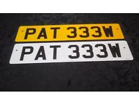 Personal car number plate PAT333W for sale on retention