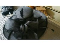 Max and Ellie Beautiful Black Wedding Hat/Coast Clutch Bag