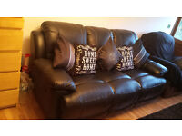 black leather recliner 3 seater settee