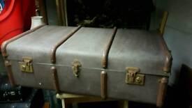Vintage Banded Suitcase Trunk
