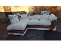 Amazing Brand New brown and mink cord corner sofa. can deliver
