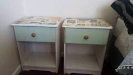 Twin upcycled bedside tables
