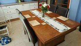 Dining table pool table with six chairs