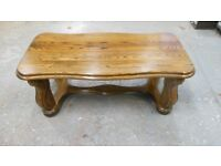 gorgeous solid oak coffee table . very sturdy, and heavy. can deliver