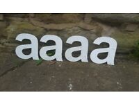 "Vintage Retro Reclaimed Salvage Shop Letters Pub Sign Industrial A a Letter ""A"" Metal Silver / White"
