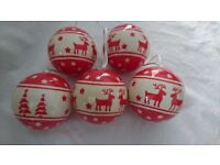 Set of 5 Traditional Christmas Baubles