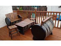 Used oak whiskey barrel gsrden furniture,patio bar