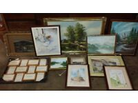 Collection of framed paintings