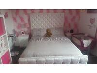 Crushed velvet kingsize bed