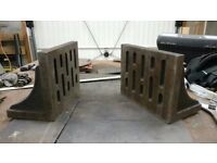 Angle plates, large matched pair w/webs, slotted faces. 255mm X 150mm X 200mm