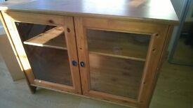 Heavy oak wood & glass storage sideboard cupboard shelves