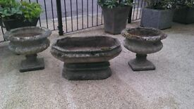 Vintage Cast Garden Urns, full of character £175 o.n.o. for all three