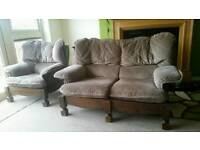 Brown fabric sofa and chair