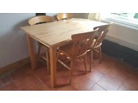 Beech dining/kitchen table and chairs
