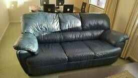 Blue real leather sofa 2+3