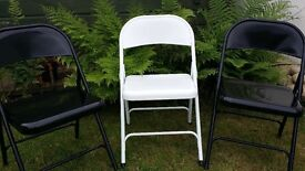 Three Powdered Steel Chairs for Office or Garden