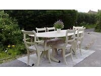 Very Large Extending Dining Table and 6 Chairs. Shabby Chic, Pale Cream. Delivery Available.