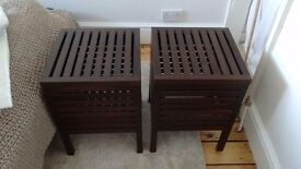 2x Ikea Wooden Storage Bedside Tables