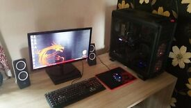 Gaming pc with monitor speakers keyboard & mouse